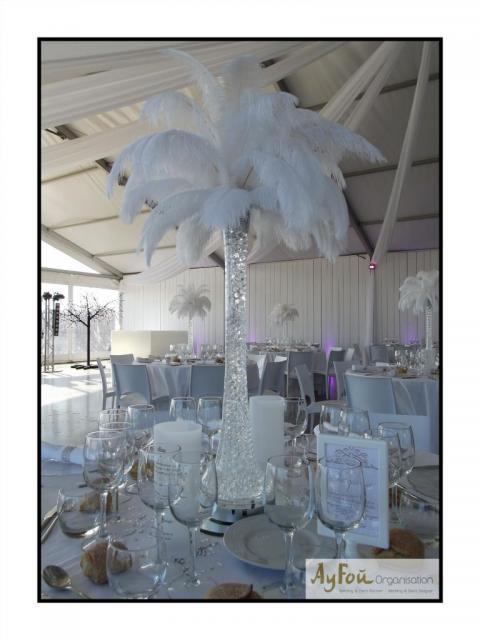 Décoration réception mariage - Centre de table plumes